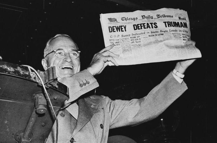 Electoral Upsets Dewey Truman