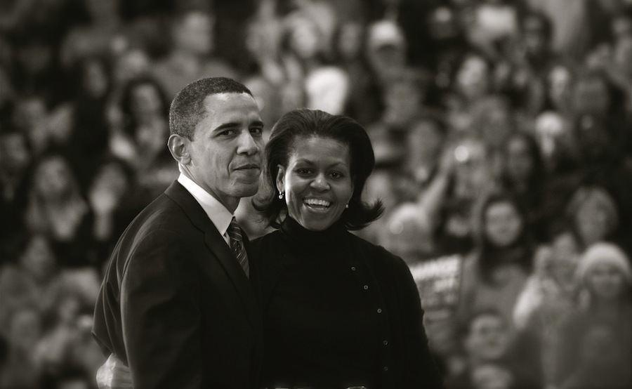 Iowa Caucus Barack Michelle Obama