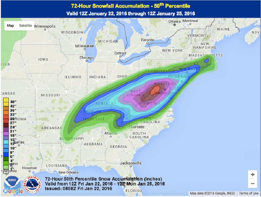 Snowfall Prediction For Winter Storm Jonas