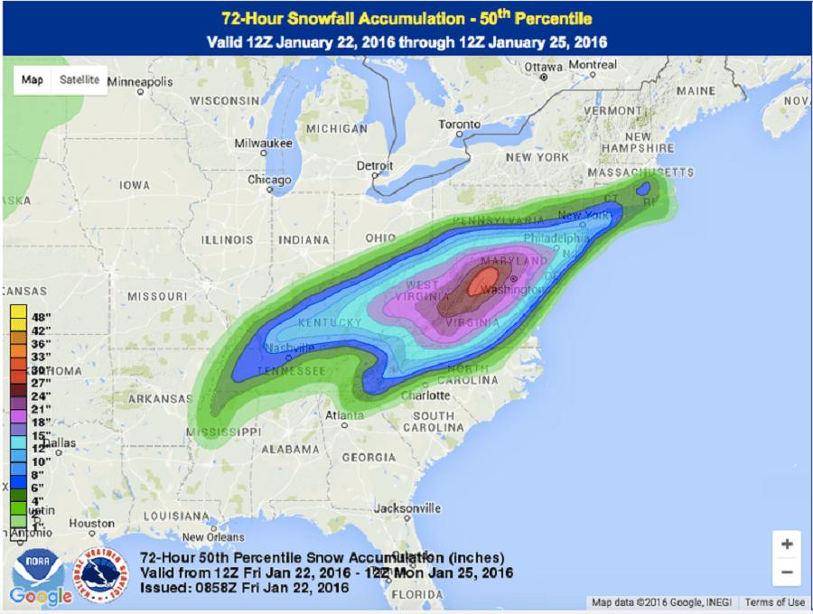 Snowfall Prediction For Winter Storm Jonas