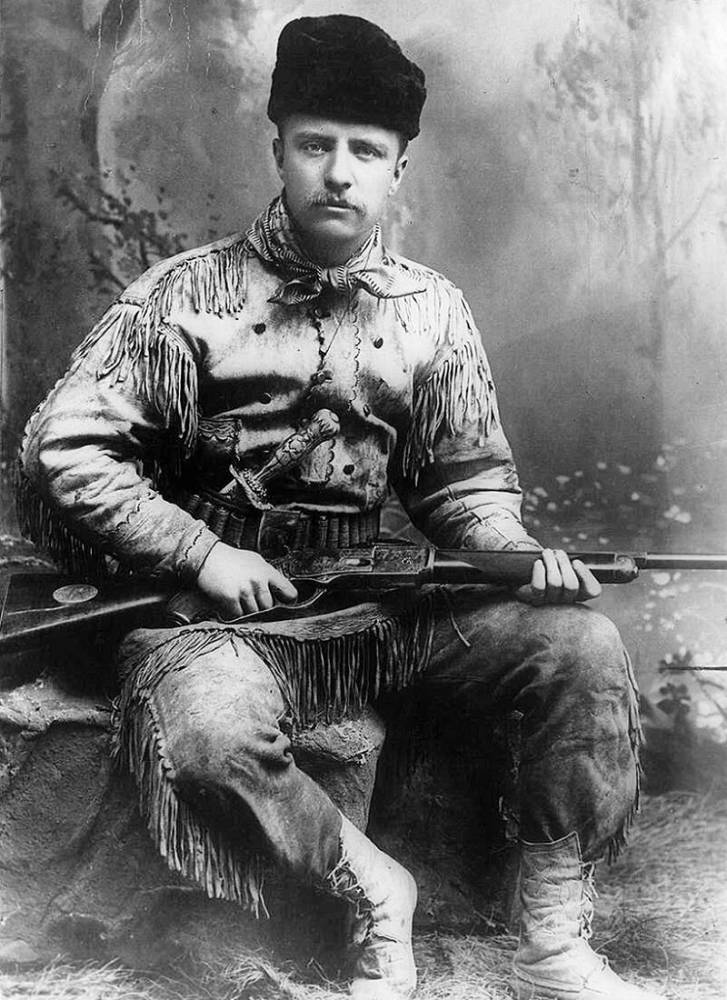 Theodore D. Roosevelt (1858 1919) 26th President Of The United States Of America (1901 1909). Roosevelt In 1885 In Hunting Costume On His Ranch In Dakota.
