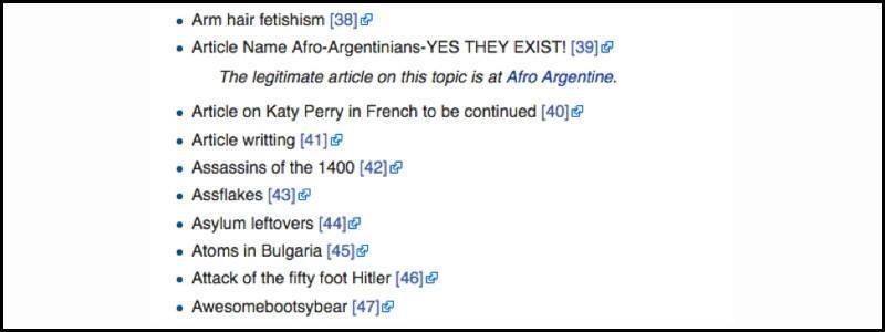 Wikipedia Freaky Titles List