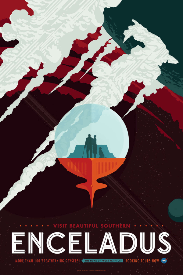 Enceladus NASA Space Travel Posters