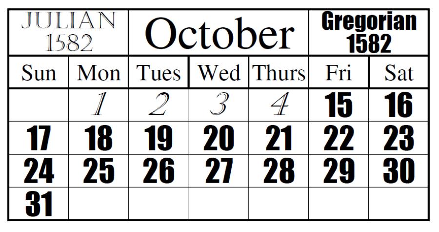 Julian Gregorian Calendar Transition