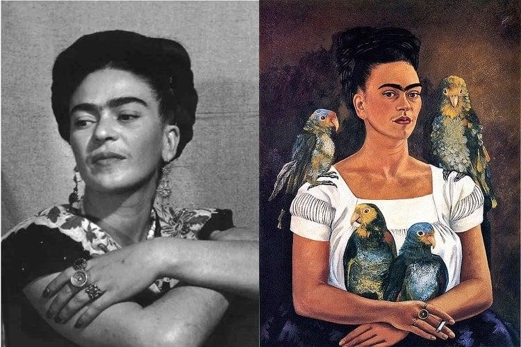 Frida Kahlo Life Parrots Portrait