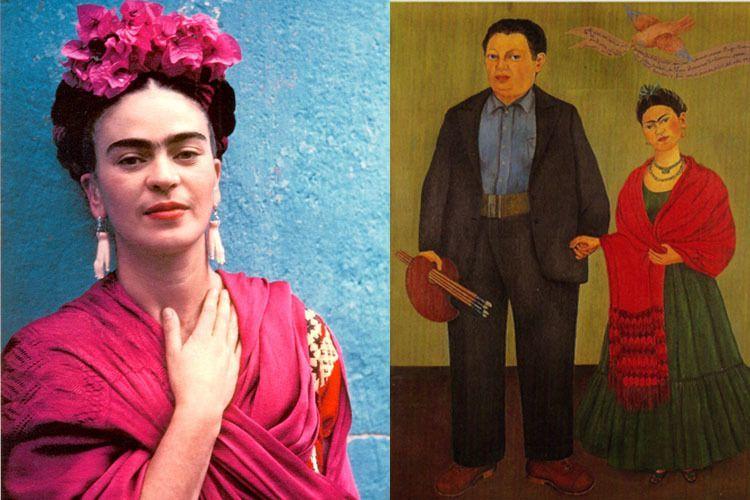 Frida Kahlo Life Red Shawl Diego