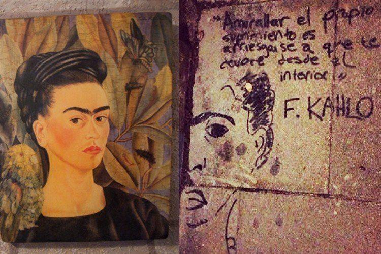 Frida Kahlo Life Street Art Leaves Portrait