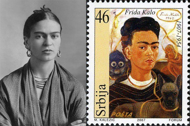 Frida Kahlo Life Black And White Stamp