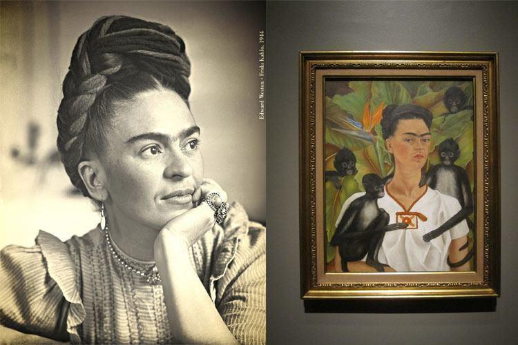 Frida Kahlo Sitting Braid Painting Monkeys