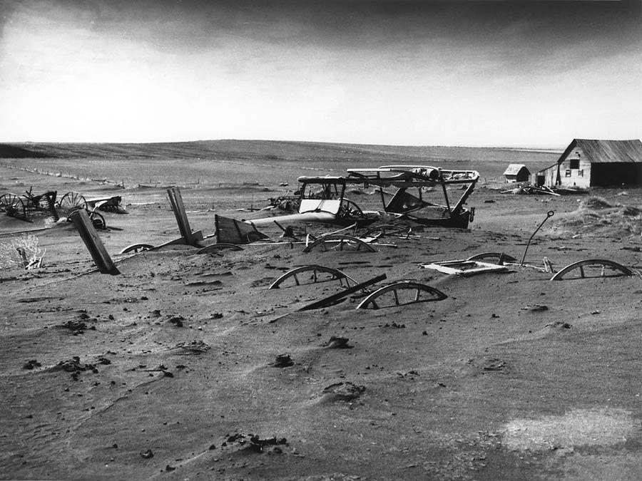 Great Depression Photos Burried Car