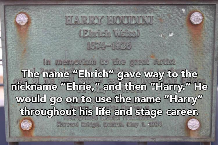 Harry Houdini Name Plate