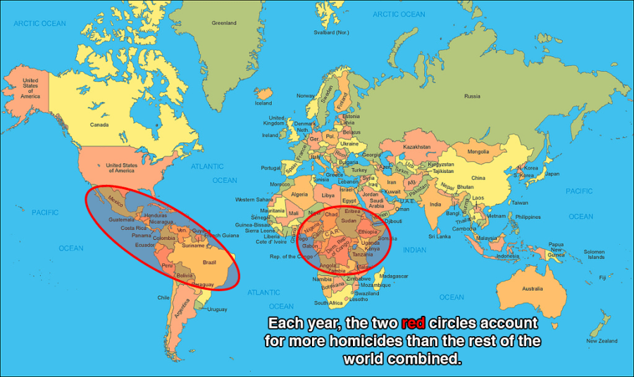 World Map With Australia Circled.Shocking Murder Map Reveals The World S Deadliest Regions