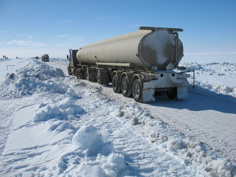 Trucks On Frozen Dalton Highway Alaska