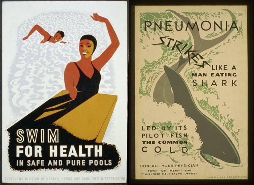 Vintage Health Posters Swim Shark