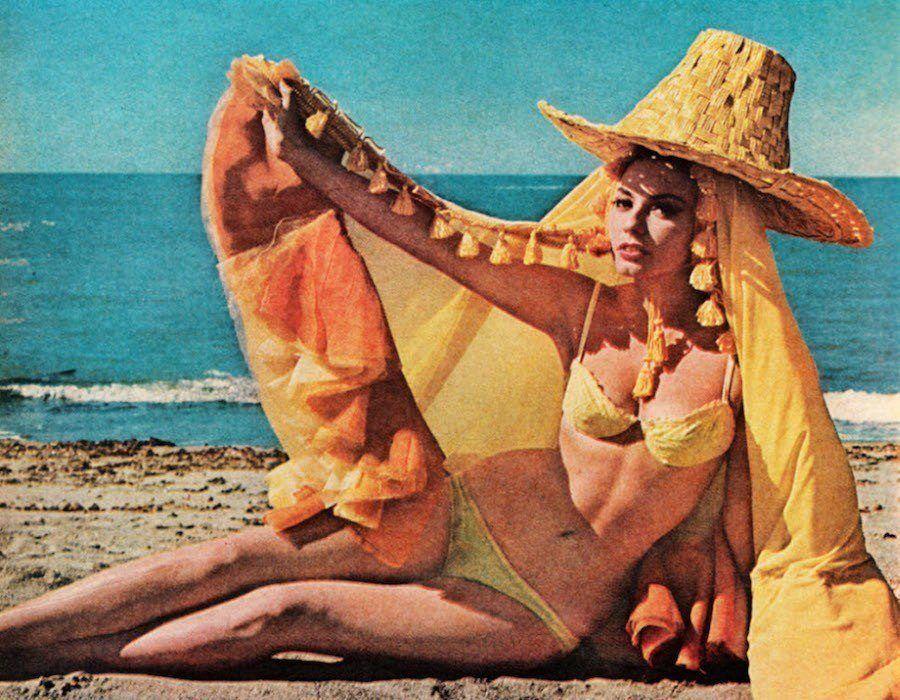 vintage yellow bikini