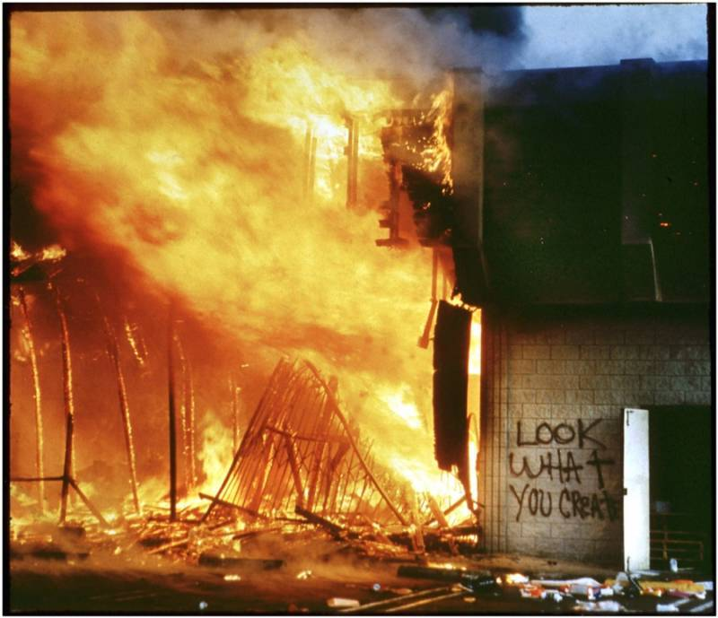 Burning LA Building During Rodney King Riots