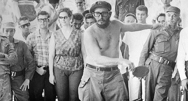 Fidel Castro Playing Ping Pong