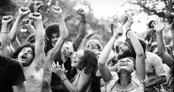 Hippies Dancing Arms Raised