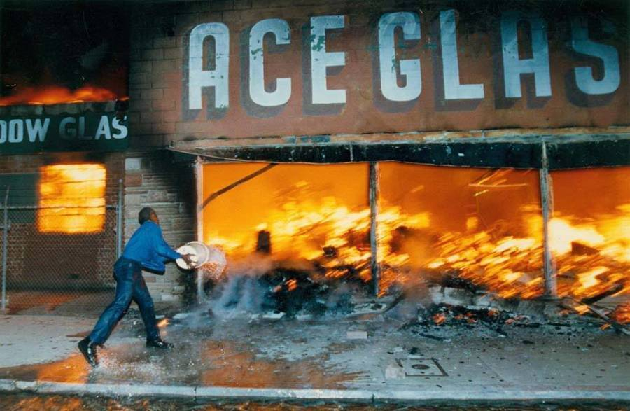 Burning Storefront During LA Riots
