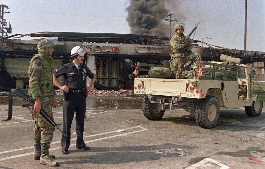 Military Truck Patrols LA Streets