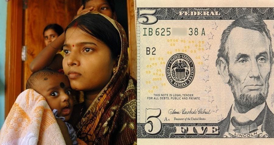 Mother Child Five Dollar Bill