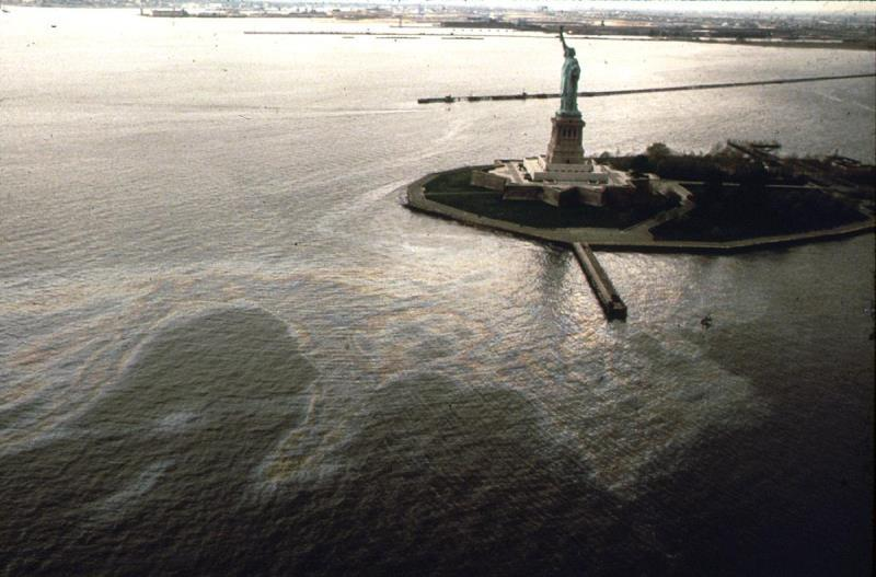 Oil Slick Statue Liberty 1973