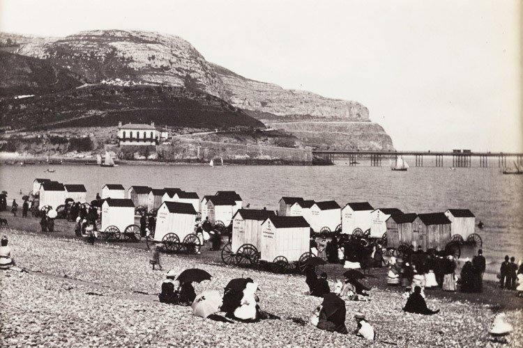 victorian bathing machines rocky beach