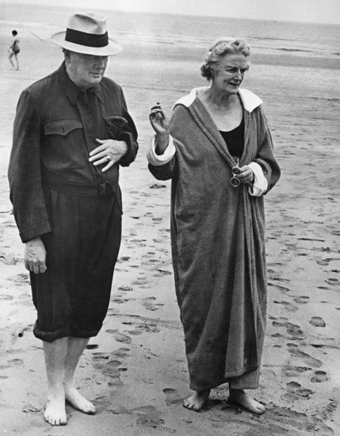 Winston Churchill Walking On The Beach