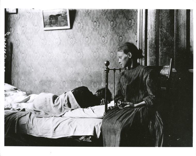 Girl And Sick Tenement Building