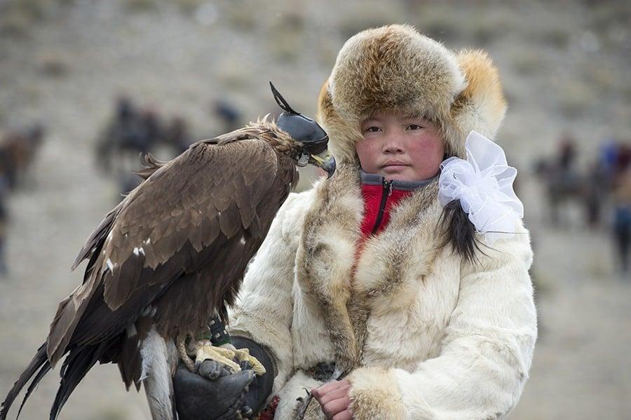 Portrait Of A Kazakh Teenage Girl Eagle Hunter (winner Of