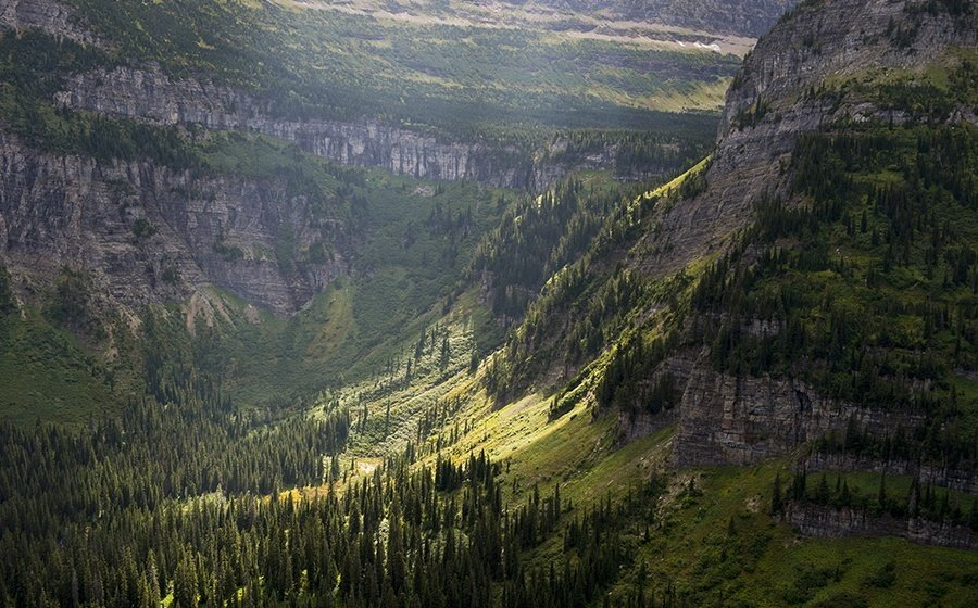 View Of Mountain Slopes From The Going To The Sun Road Near