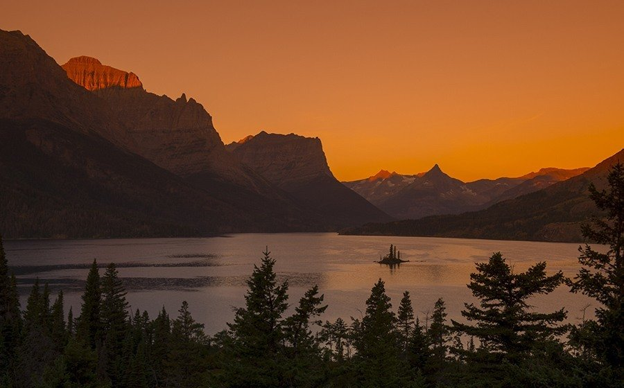 View Of Wild Goose Island In Saint Mary Lake At Sunrise In