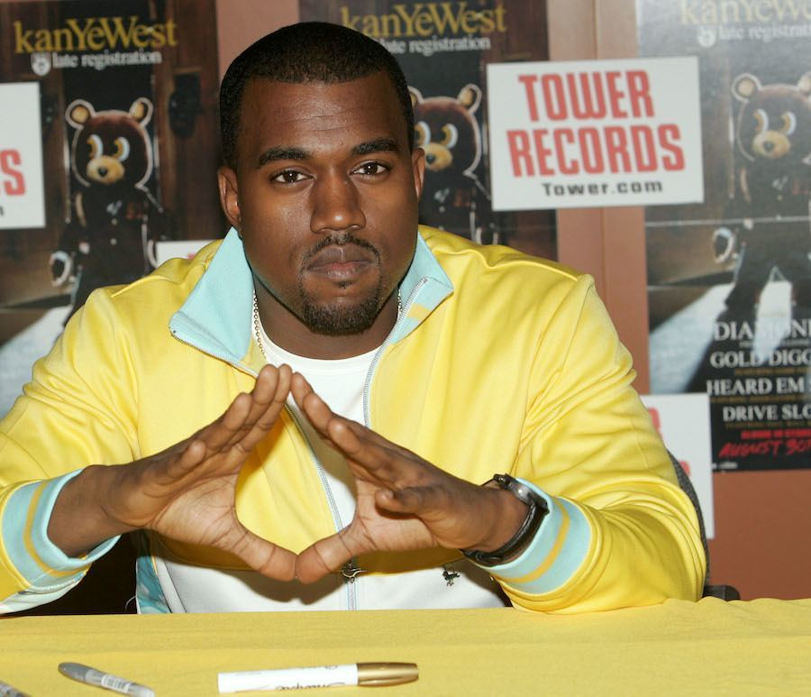 Kanye West Greets Fans At Tower Records
