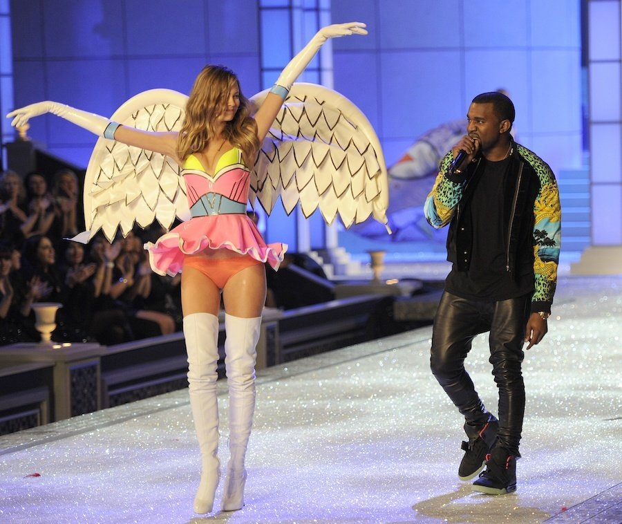 Kanye West Performs As A Model Wears Lin