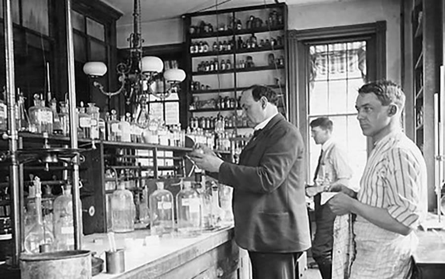 Harvey Wiley Conducting Experiments In His Laboratory