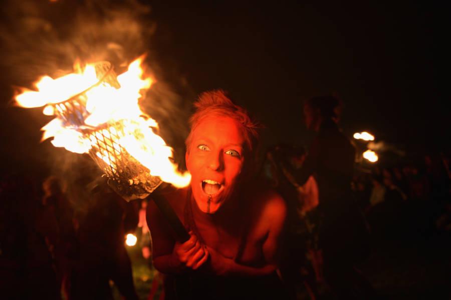 Woman Fire Teeth