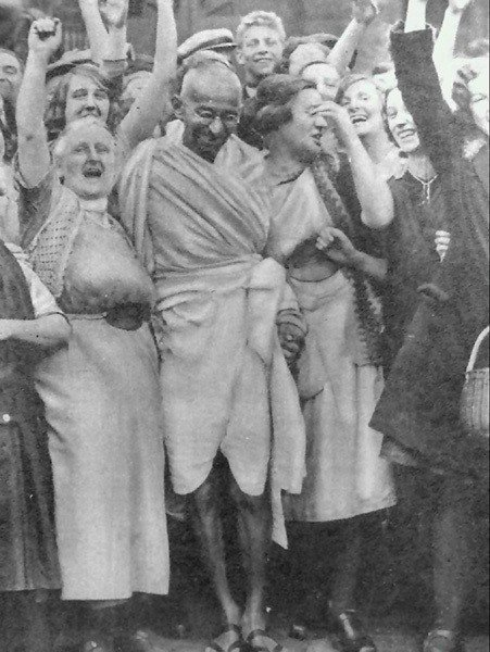 Gandhi With Textile Workers