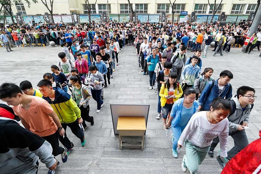 Chinese College Entrance Exams Entering Rooms