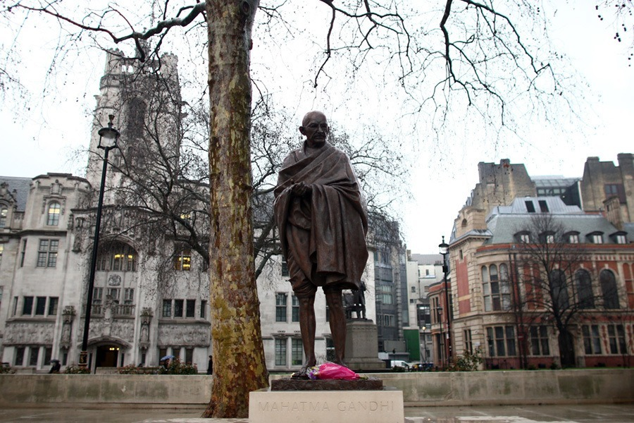A Statue Of Mahatma Gandhi Is Unveiled In Parliament Square