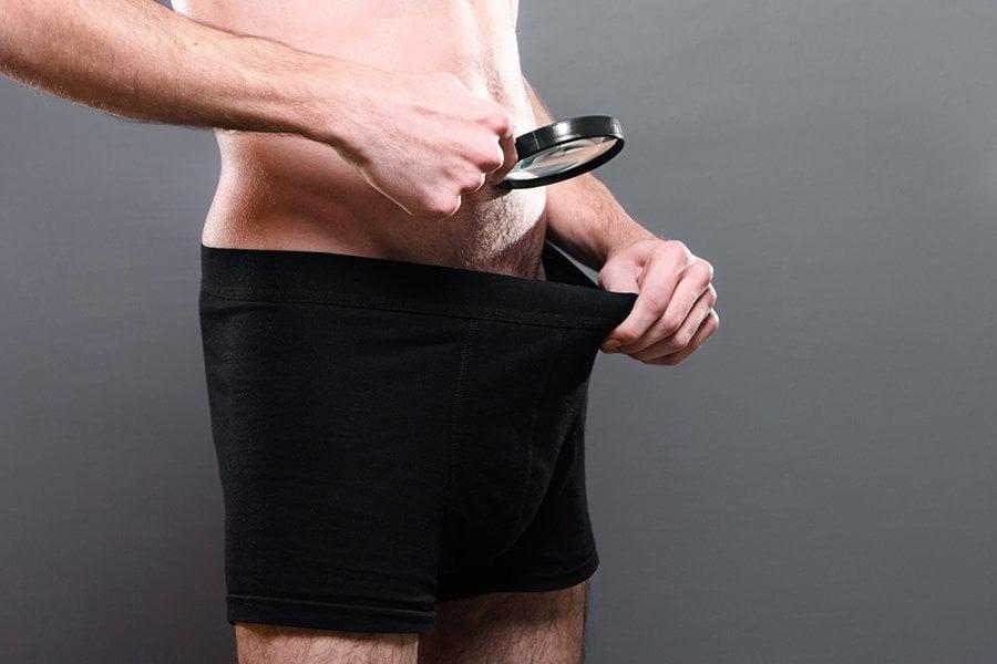 Man Looking In Underwear