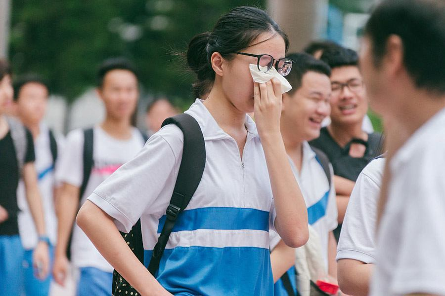 Chinese College Entrance Exam Wiping Tears