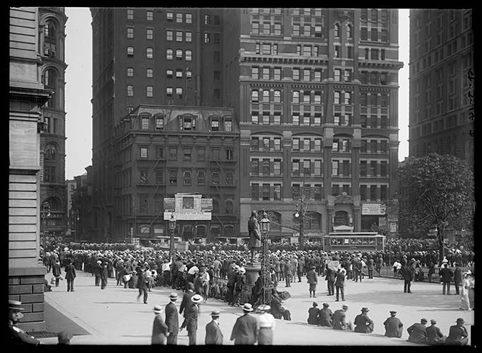 Crowd Watching Baseball Scores Being Posted On The Sun Building, New York City, 1914