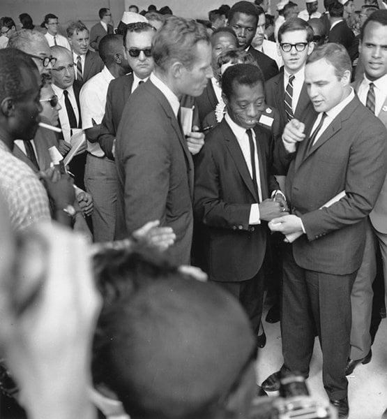 Charlton Heston James Baldwin and Marlon Brando