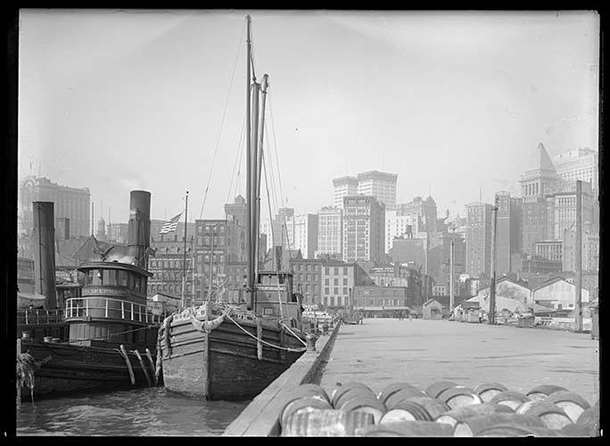 Lower Manhattan Skyline Viewed From The South Street Piers, New York City, 1915.
