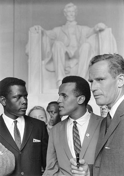 Sidney Poitier, Harry Belafonte, and Charlton Heston