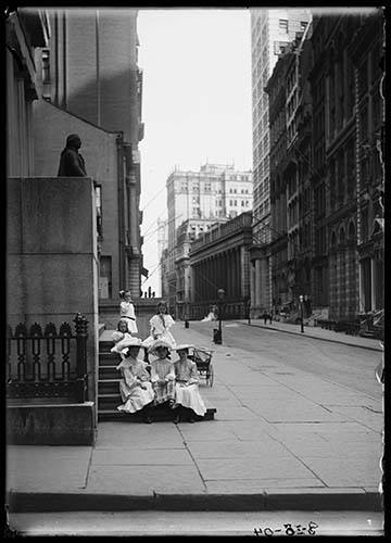 Six Unidentified Little Girls Seated On A Wall Street Stoop, New York City, August 18, 1904.