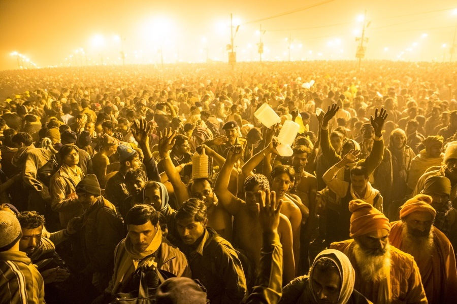 Kumbh Mela Crowd Fires