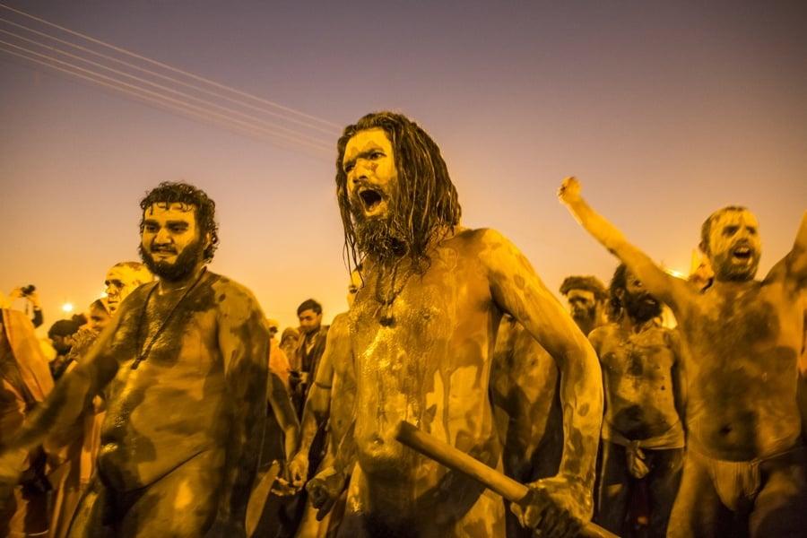 Kumbh Mela Muddy Painted Men