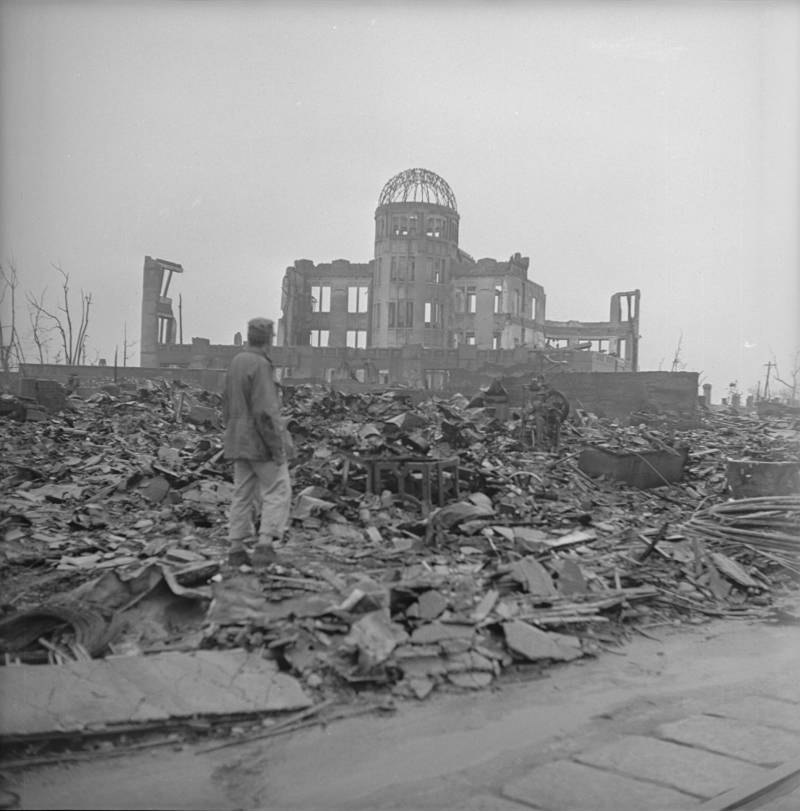 Man Walking In Hiroshima Ruins