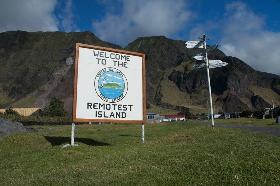 Welcome Sign To Tristan da Cunha Island